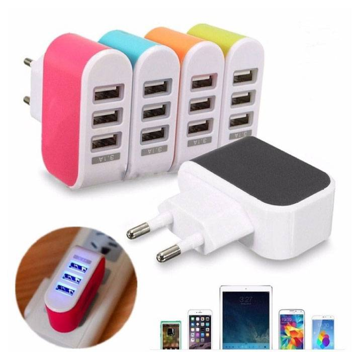 Triple (3x) USB Port iPhone/Android Muur Oplader 5V - 3.1A Wallcharger AC Thuis