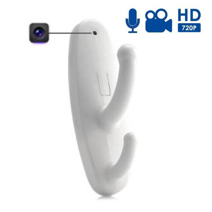 Spycam Kapstok Verborgen Camera Met Microfoon Wit - HD