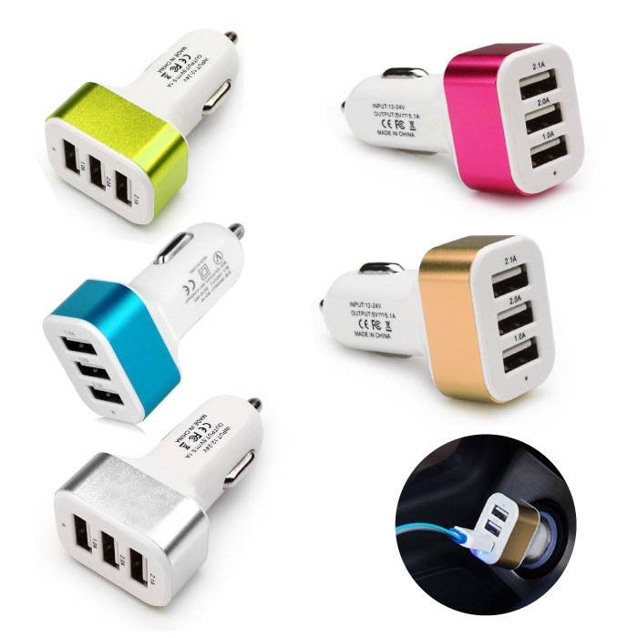 Paquet de 5 chargeurs / chargeur de voiture haute vitesse à 3 ports - 5 couleurs