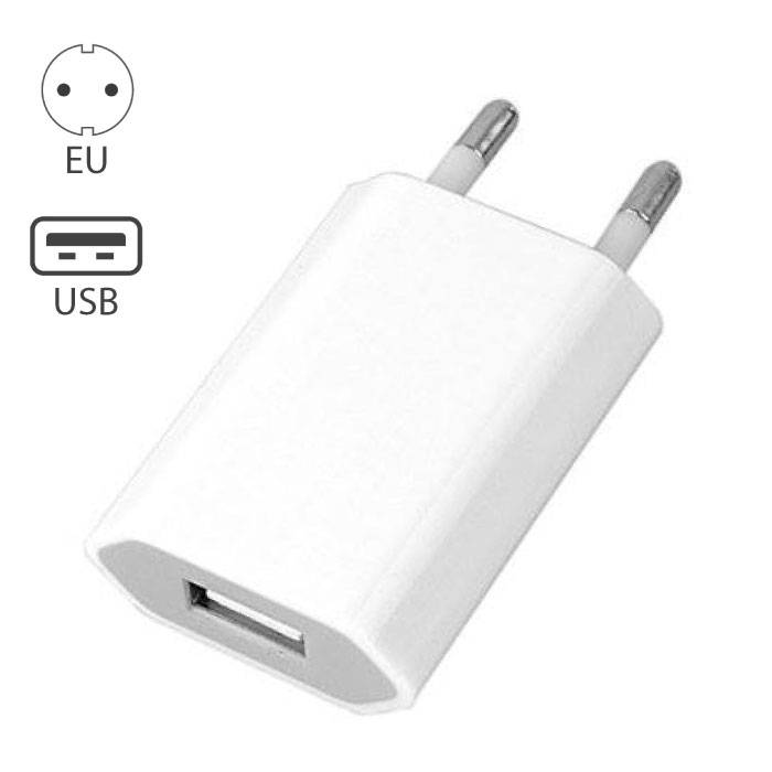 iPhone / iPad / iPod Plug Wall Charger 5V - 1A Charger USB AC Home White