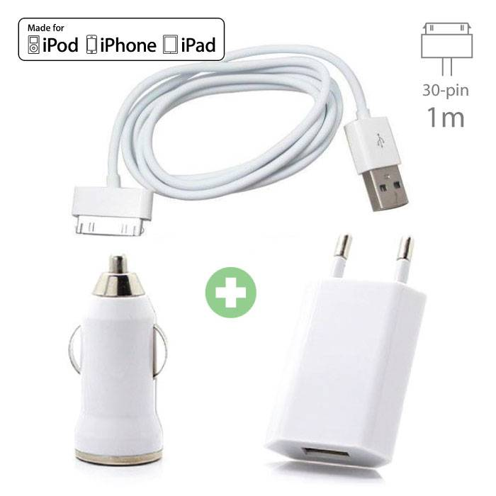 3-in-1-Ladeset für iPhone 30-poliges USB-Ladekabel + Steckerladegerät + Autoladegerät
