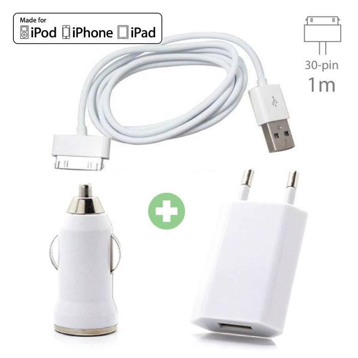 Kit de charge 3 en 1 pour iPhone Câble de charge USB 30 broches + chargeur de prise + chargeur de voiture