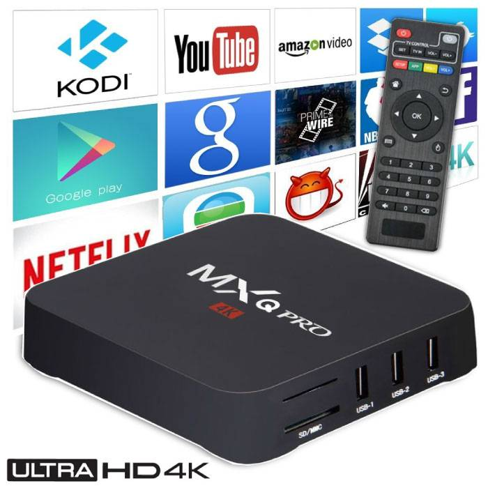 Pro MX q 4K TV Box Media Player Android Kodi - 1GB RAM - 8GB Storage