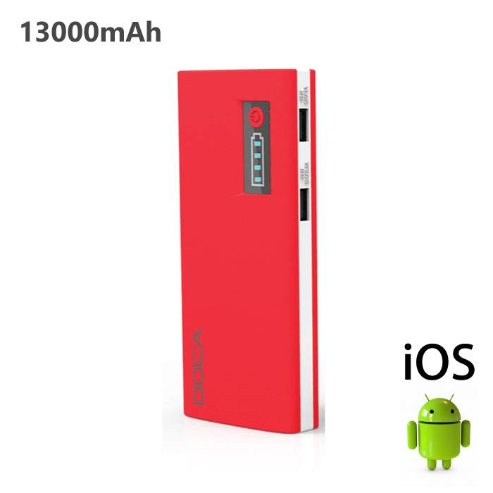 Original DOCA D566A 13000mAh Power Bank Emergency Battery Charger Red