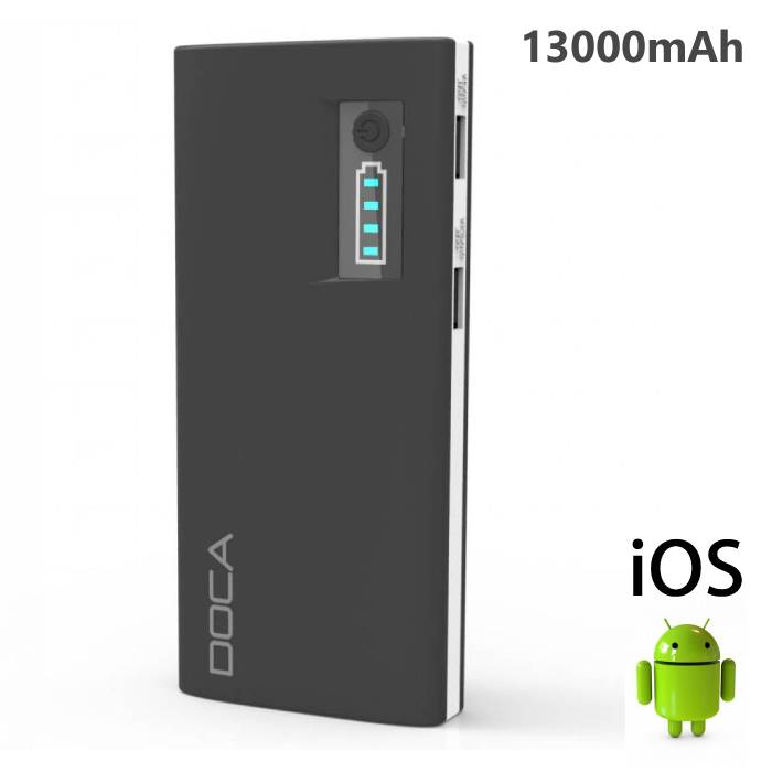 Original DOCA D566A 13000mAh Power Bank Emergency Battery Charger Black