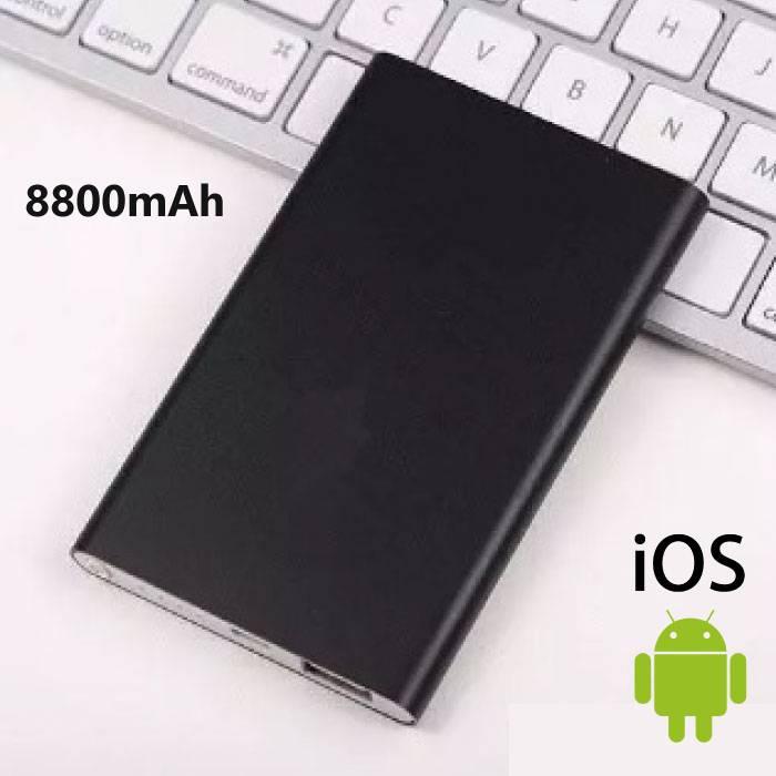 8800mAh Ultra Thin batterie d'alimentation externe Banque d'urgence Chargeur intelligent Chargeur Noir