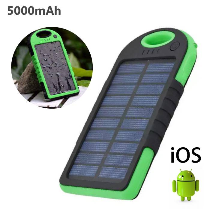 External 5000mAh Solar Charger Power Bank Emergency Solar Battery Charger Green