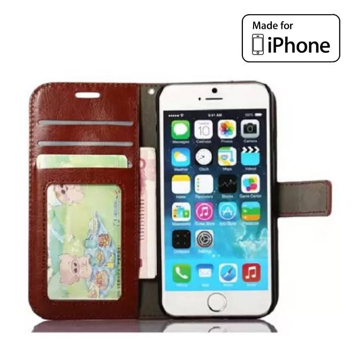 iPhone 6S - Portefeuille en cuir flip cas Couverture Cas Portefeuille Marron