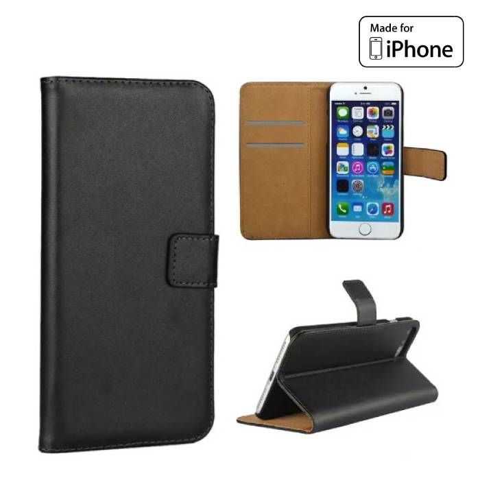 iPhone 6 6S - Wallet Flip Case Cover Cas Hoesje Portefeuille Zwart