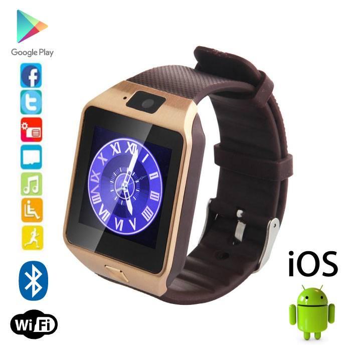 Originele DZ09 Smartwatch Smartphone Horloge OLED Android iOS Goud
