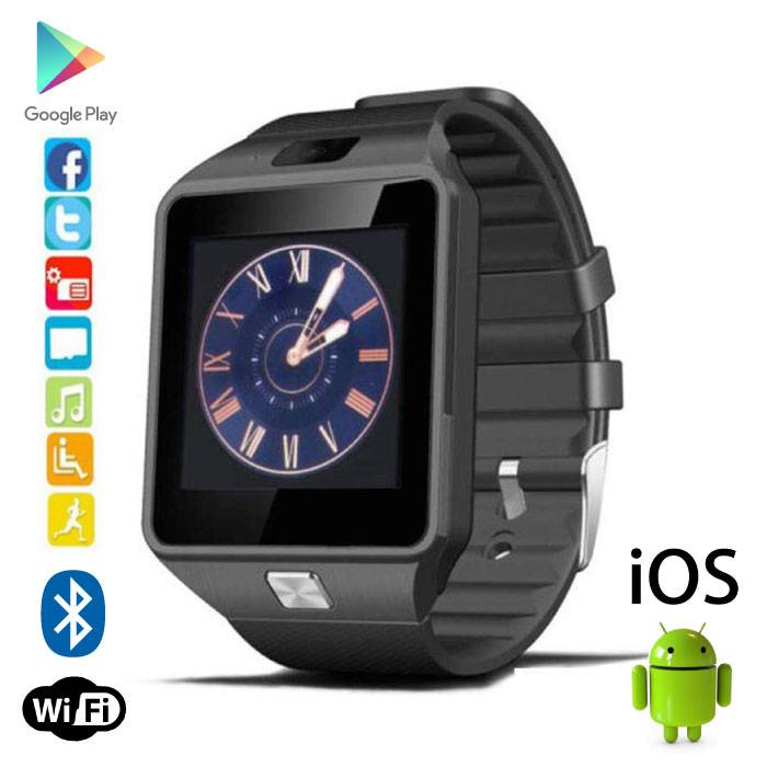 DZ09 originale SmartWatch Smartphone Android montre OLED iOS Noir