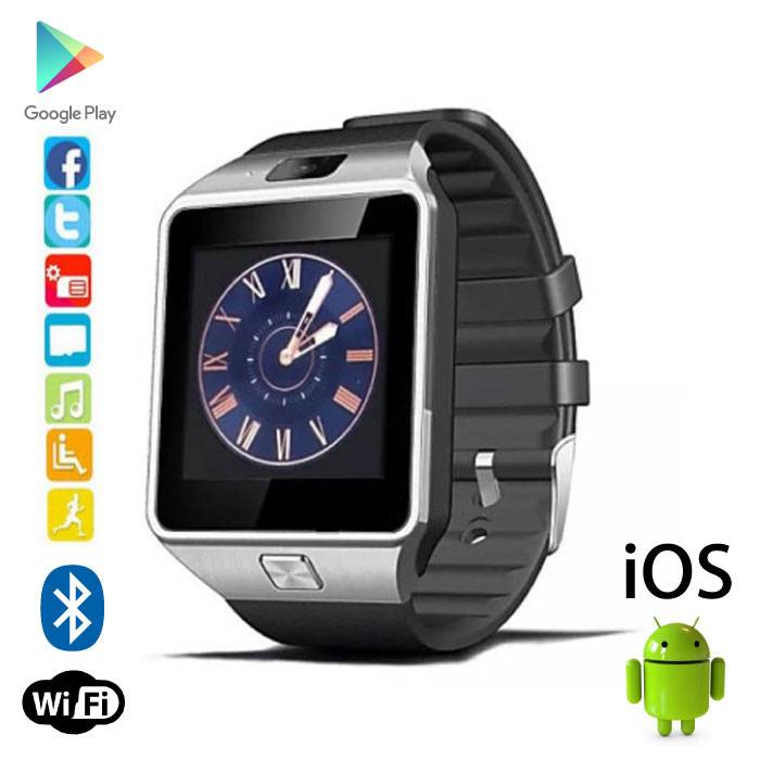 DZ09 originale SmartWatch Smartphone Android montre OLED iOS Argent