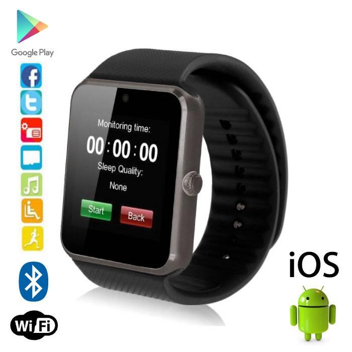 Originele GT08 Smartwatch Smartphone Horloge OLED Android iOS Zwart