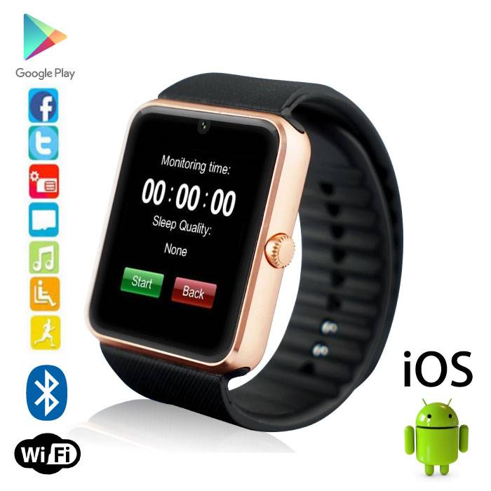 Originele GT08 Smartwatch Smartphone Horloge OLED Android iOS Goud