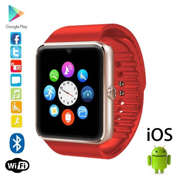 Originele GT08 Smartwatch Smartphone Fitness Sport Activity Tracker Horloge OLED Android iOS Rood