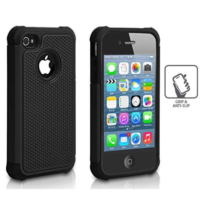 For Apple iPhone 4 - Hybrid Armor Case Cover Cas Silicone TPU Case Black