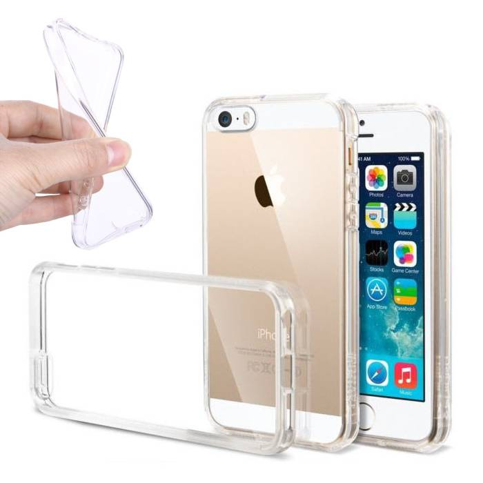 2-Pack transparent en silicone transparent de couverture de cas TPU iPhone SE