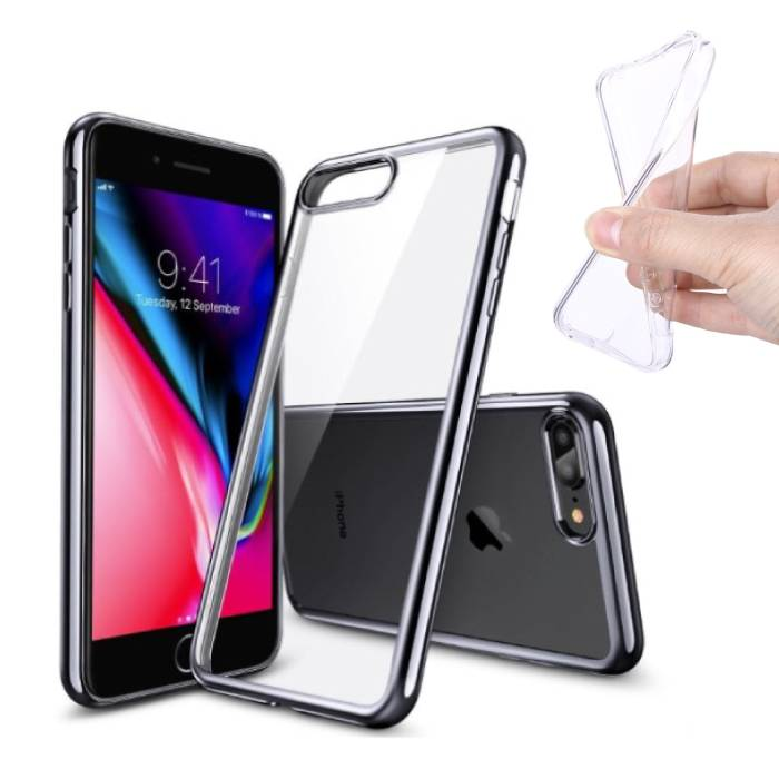 2-Pack Transparent Clear Silicone Case Cover TPU Case iPhone 8