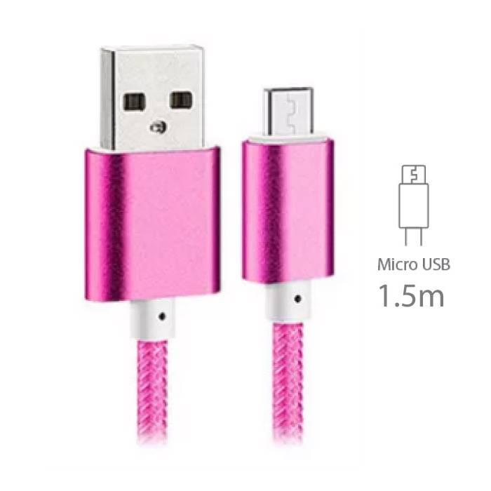 Stuff Certified® USB 2.0 - Micro-USB Cable de charge de données en nylon tressé Cable Android 1.5 metres Rose