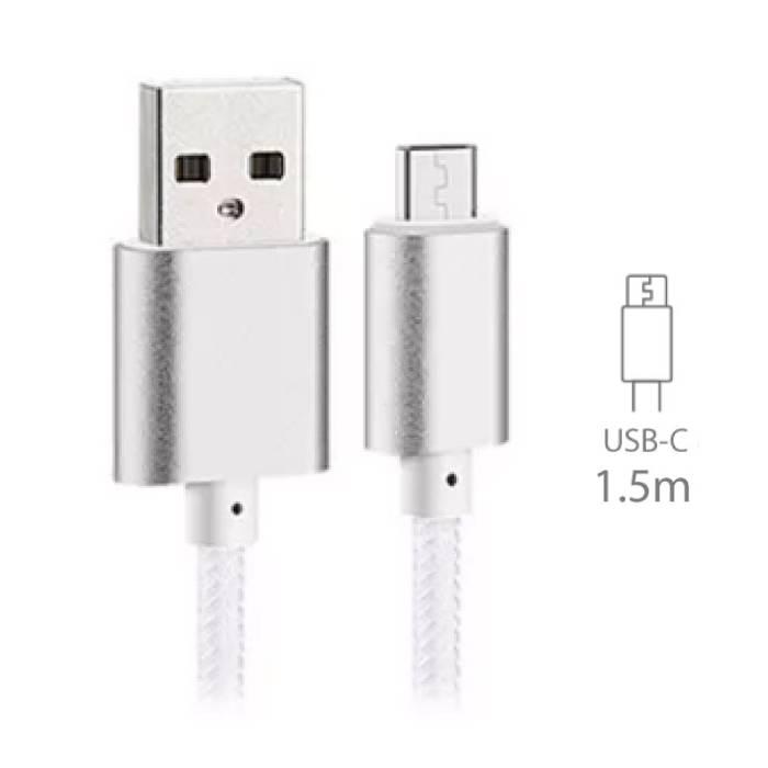 Stuff Certified® USB 2.0 - Cable USB C Nylon Tressé de charge Cable de données Android 1.5 metre blanc