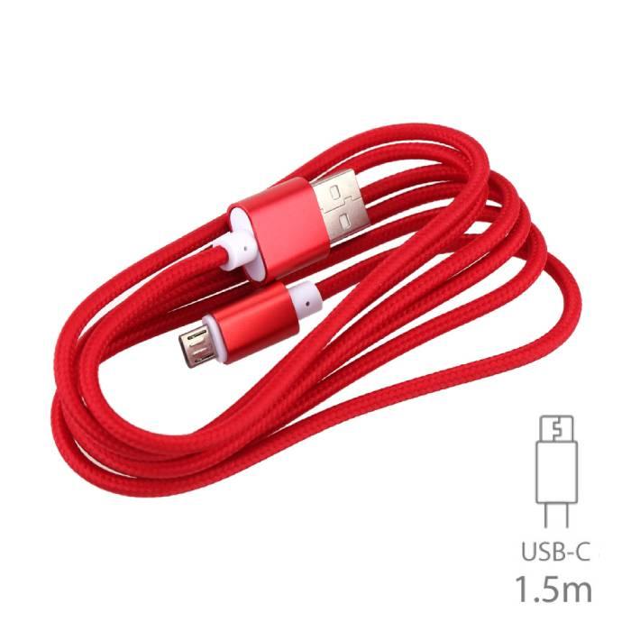 USB 2.0 - cable USB C Nylon Tressé de charge cable de données Android 1.5 mètre rouge
