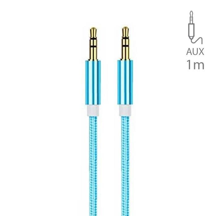 AUX Gevlochten Nylon Aluminium Audio Kabel 1 Meter Extra Sterk 3.5mm Jack Blauw