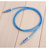 Stuff Certified® AUX Gevlochten Nylon Aluminium Audio Kabel 1 Meter Extra Sterk 3.5mm Jack Blauw
