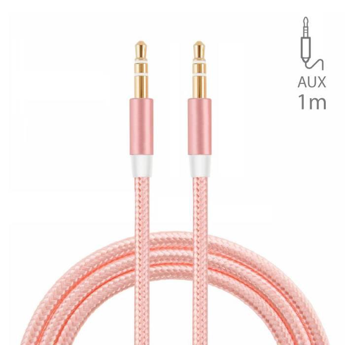 AUX Gevlochten Nylon Aluminium Audio Kabel 1 Meter Extra Sterk 3.5mm Jack Roze