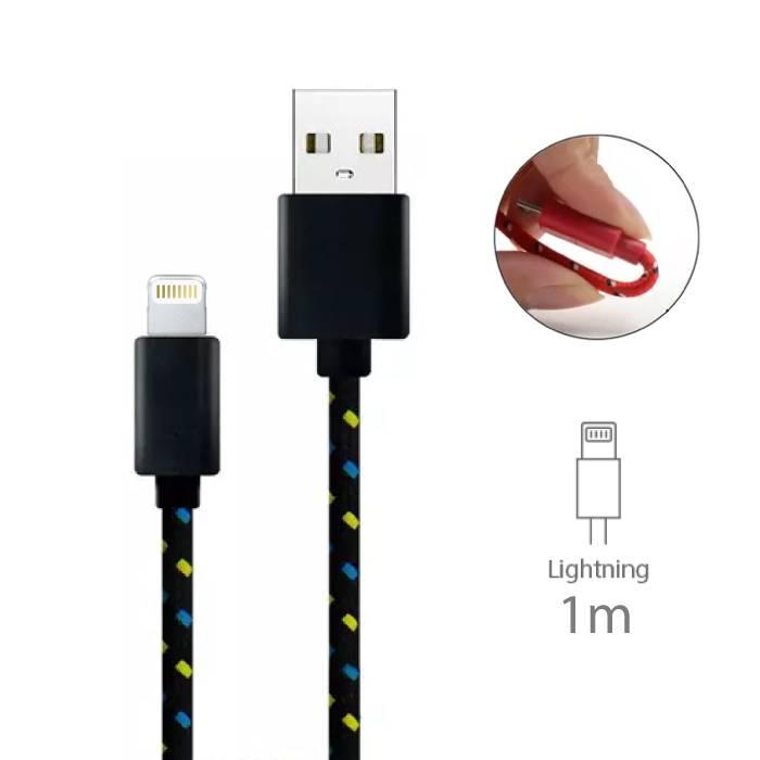 iPhone/iPad/iPod Lightning USB Oplaadkabel Gevlochten Nylon Oplader Data Kabel Data 1 Meter Zwart