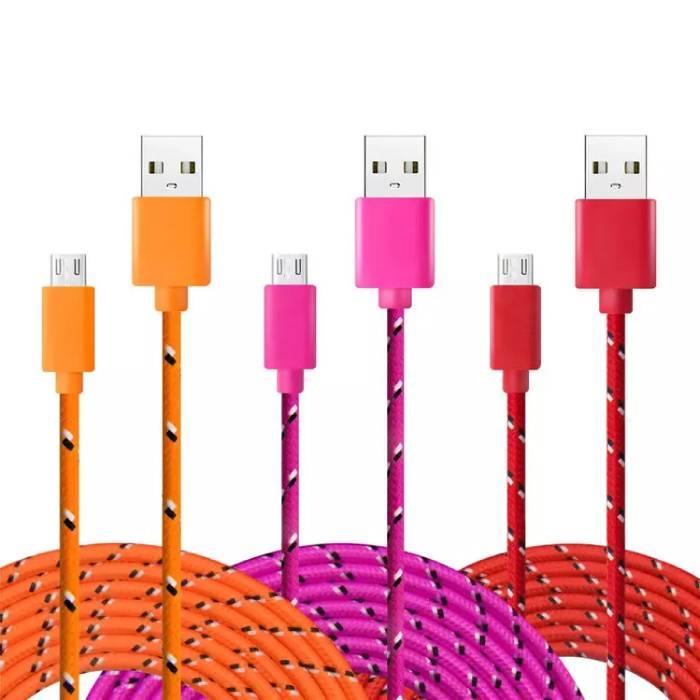 Stuff Certified® iPhone / iPad / iPod foudre Cable USB de charge en nylon tressé Cable 1 metre de données Rose