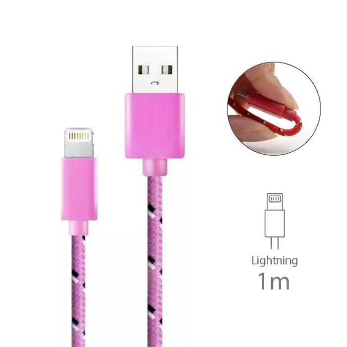 iPhone/iPad/iPod Lightning USB Oplaadkabel Gevlochten Nylon Oplader Data Kabel Data 1 Meter Roze