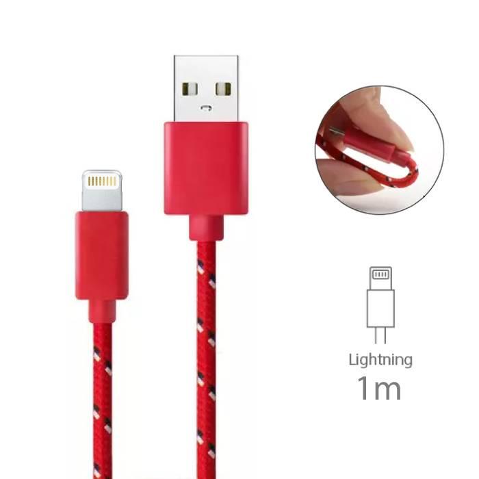 iPhone/iPad/iPod Lightning USB Oplaadkabel Gevlochten Nylon Oplader Data Kabel Data 1 Meter Rood