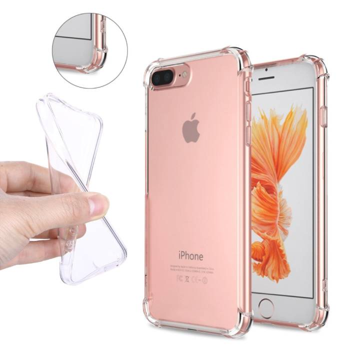 Transparent clair Pare-chocs de cas de couverture de silicone iPhone TPU Anti-Shock Plus 8