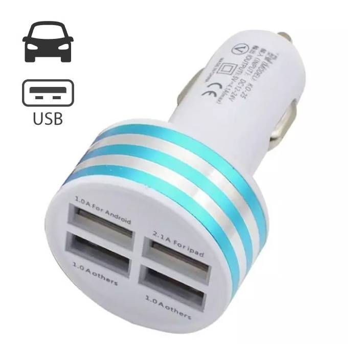 High-Speed Quad 4x USB Port Autolader/Carcharger 5V - 4.1A Blauw