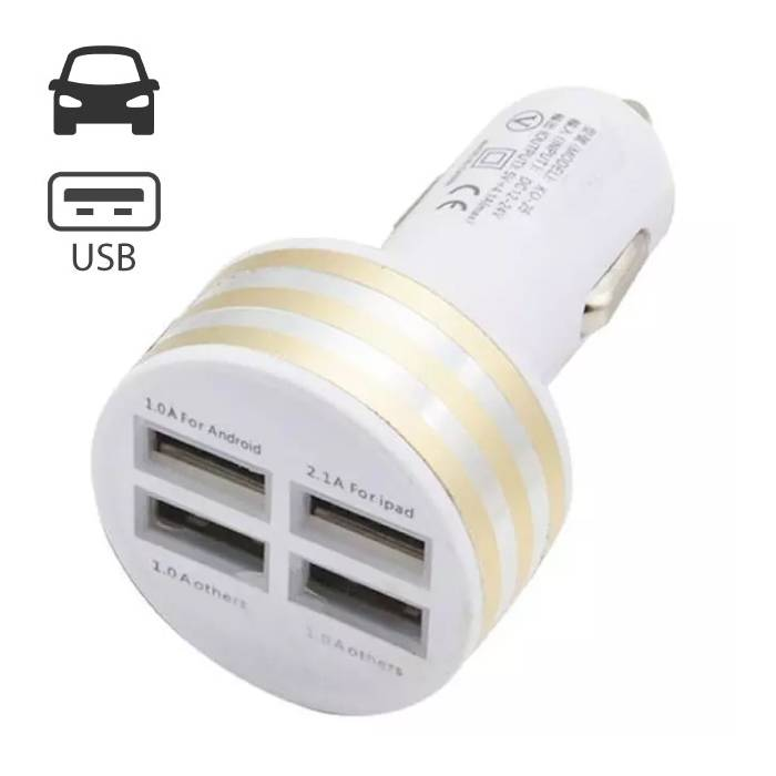 High-Speed Quad 4x USB Port Autolader/Carcharger Goud