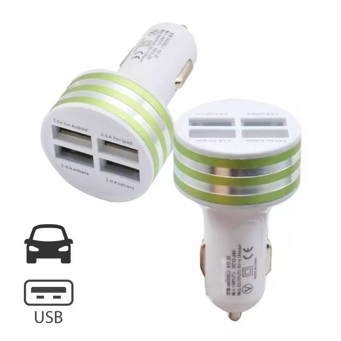 High Speed Quad Port 4x USB Charger / Carcharger 5V - 4.1A Green