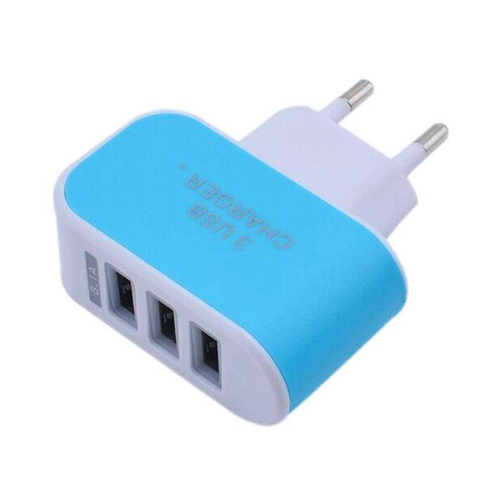 Triple (3x) USB Port iPhone/Android Muur Oplader Wallcharger AC Thuis Blauw