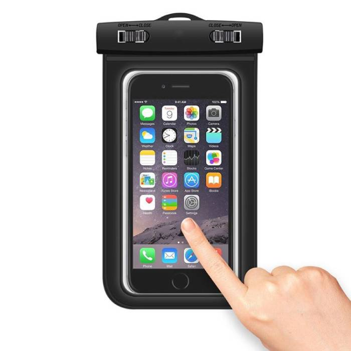 """Stuff Certified ® Waterproof Case Pouch Bag Universal Black - Up to 5.8 """""""