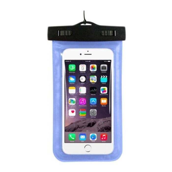 """Waterdicht Hoesje Tasje Zakje Universeel iPhone Samsung Huawei Blauw - Tot 5.8"""" Airbag"""
