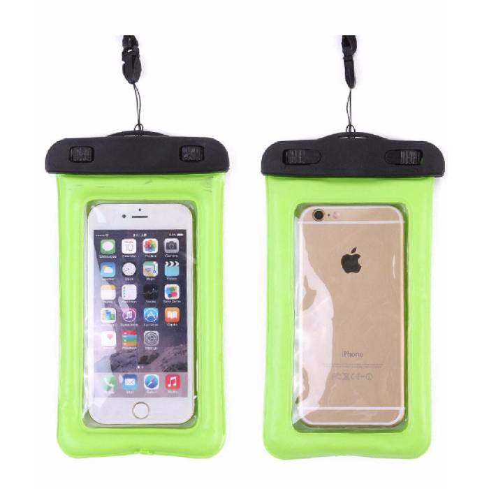 "Waterproof Case Pouch Bag Universal iPhone Samsung Huawei Green - Up to 5.8 "" Airbag"