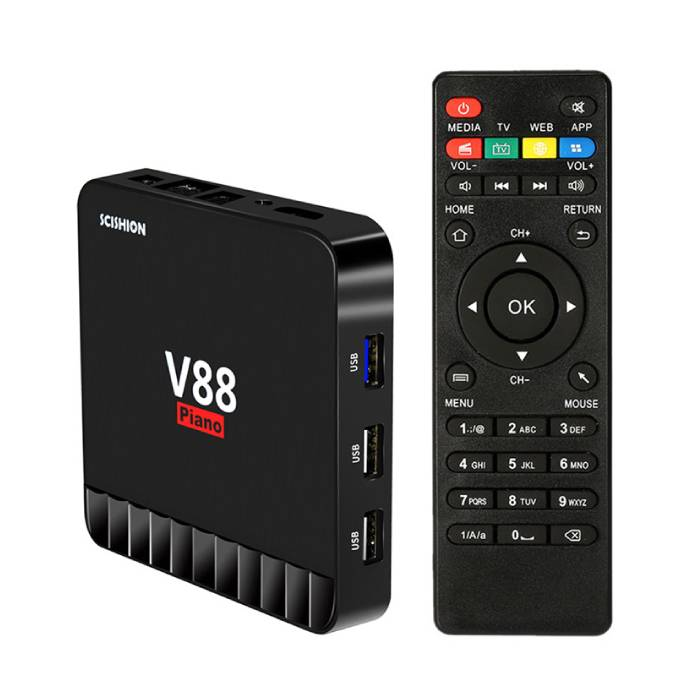 Scishion V88 Piano 4K TV Box Media Player Android Kodi - 4GB RAM - 16GB Storage