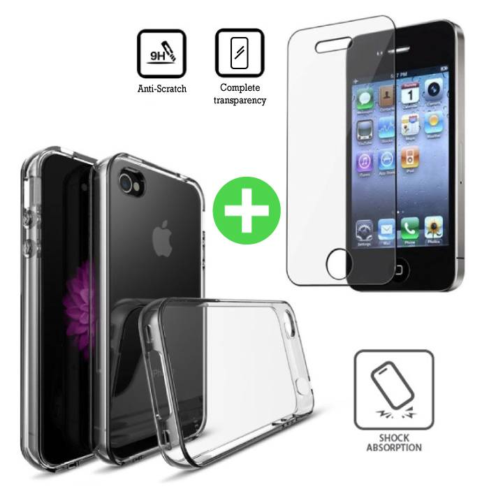 iPhone 4 Transparant TPU Hoesje + Screen Protector Tempered Glass