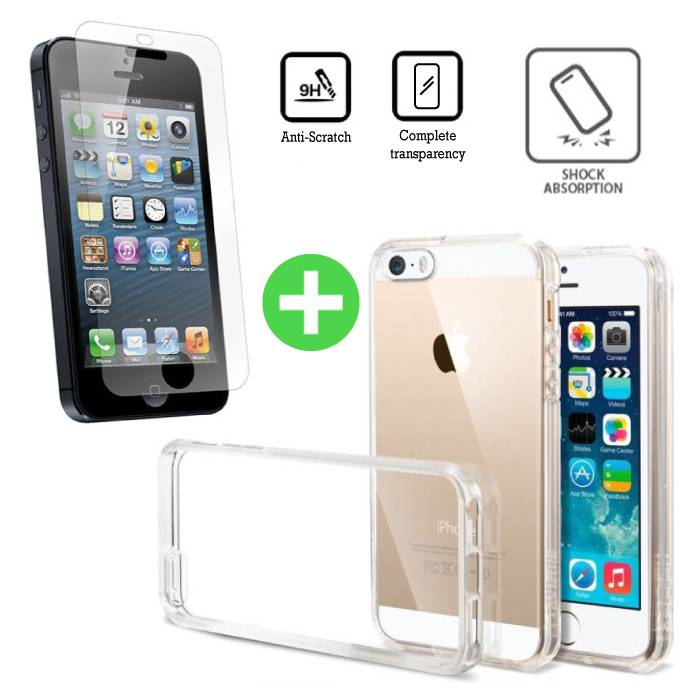 iPhone 5 Transparant TPU Hoesje + Screen Protector Tempered Glass
