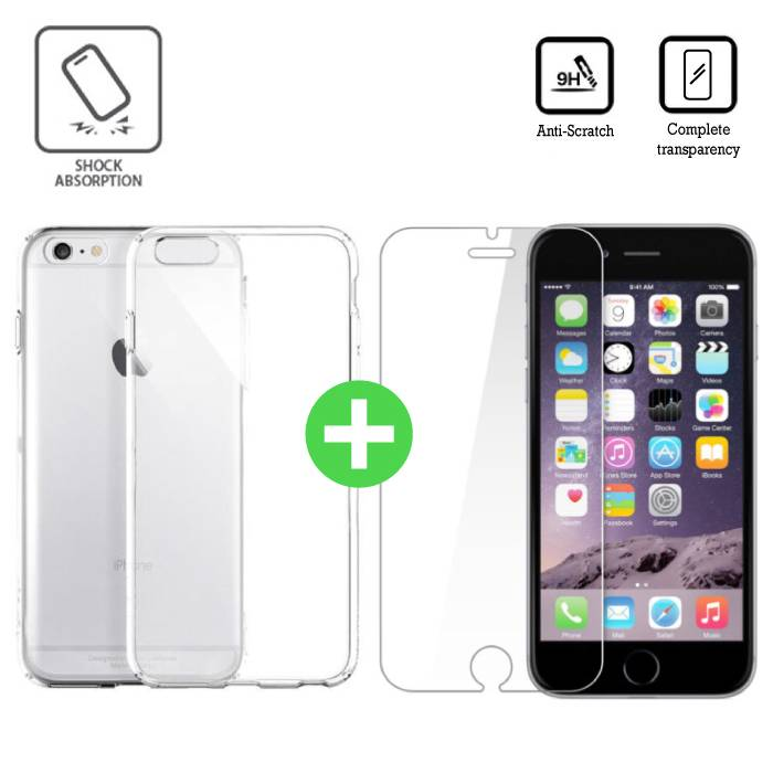 iPhone 6S Transparant TPU Hoesje + Screen Protector Tempered Glass
