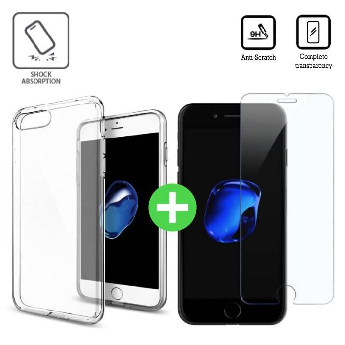 iPhone 7 plus de cas TPU transparent + écran protecteur en verre trempé