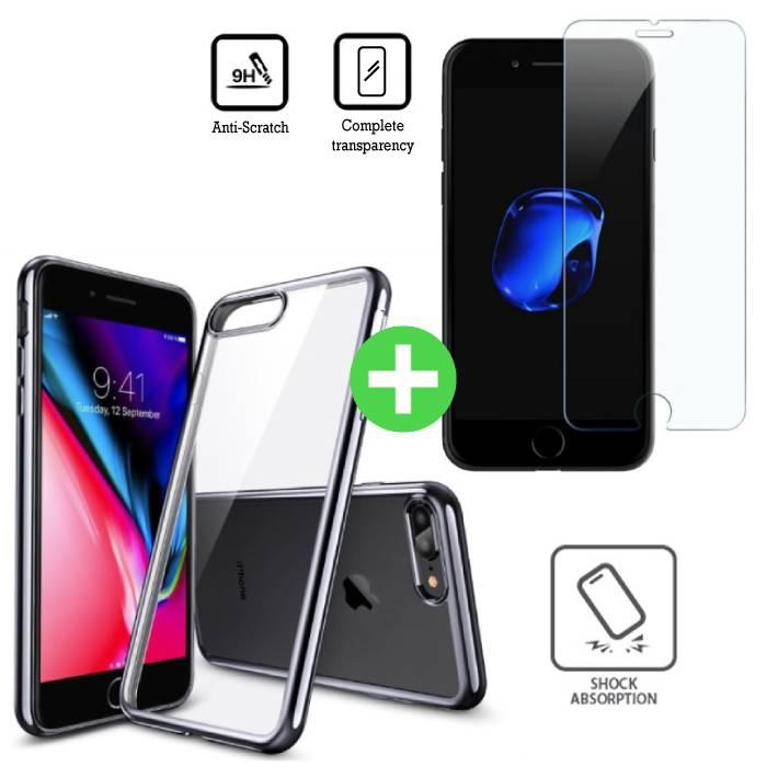 iPhone 8 cas TPU transparent + écran protecteur en verre trempé