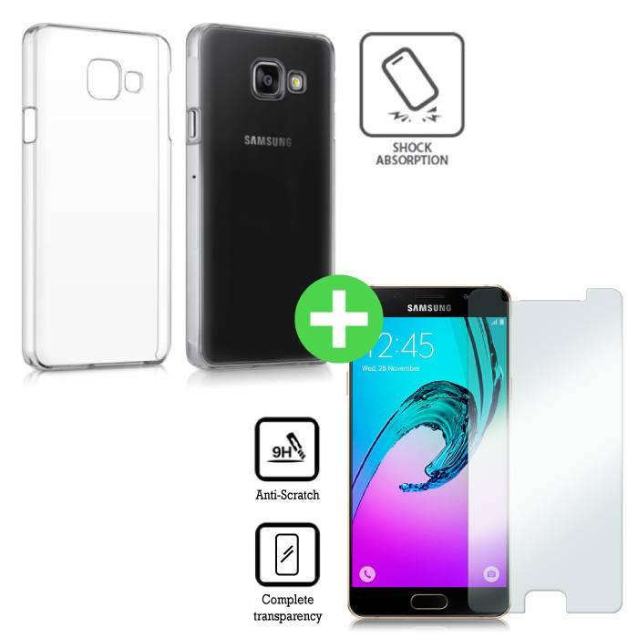 Samsung Galaxy A3 2016 Transparant TPU Hoesje + Screen Protector Tempered Glass