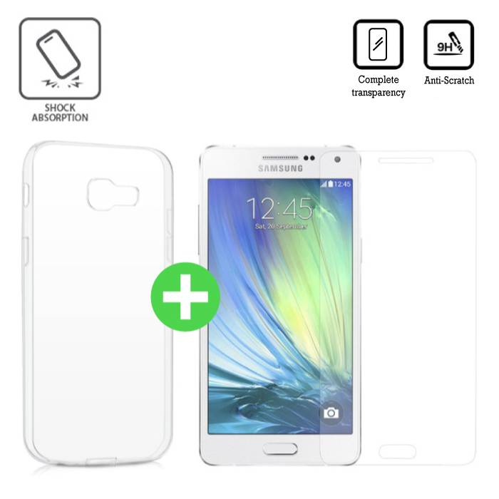 Samsung Galaxy A5 Transparant TPU Hoesje + Screen Protector Tempered Glass