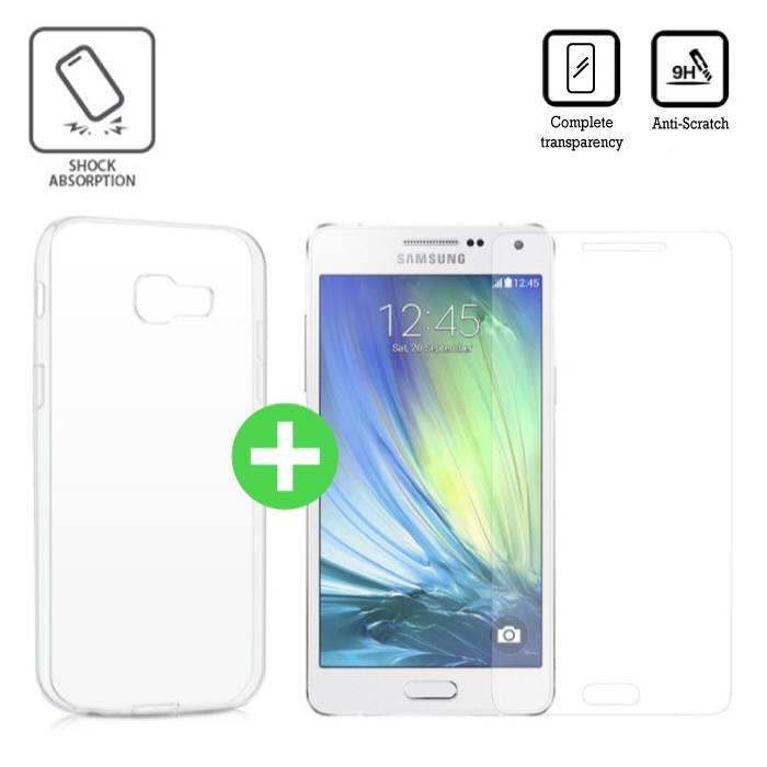 Samsung Galaxy A5 Transparent TPU Case + Screen Protector Tempered Glass