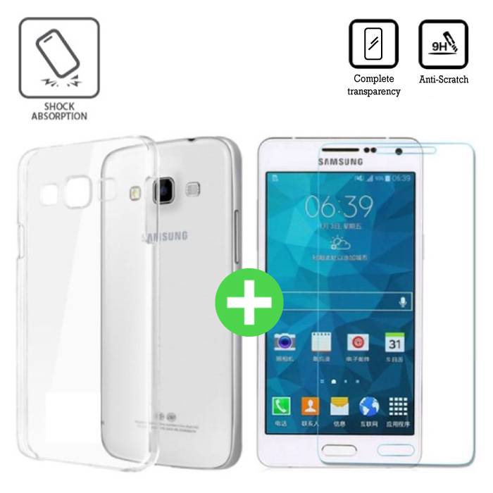 Samsung Galaxy A7 2016 Transparant TPU Hoesje + Screen Protector Tempered Glass